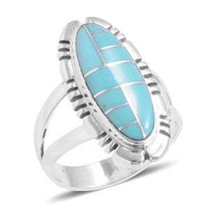 Santa Fe Style Turquoise Sterling Silver Ring (Size 10.0) TGW 3.80 cts.