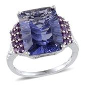 Purple Helenite (Oct 9.15 Ct), Amethyst Ring in Platinum Overlay Sterling Silver Nickel Free (Size 10) TGW 9.86 Cts.