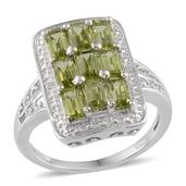 Hebei Peridot, Diamond Platinum Over Sterling Silver Ring (Size 8.0) TDiaWt 0.01 cts, TGW 2.760 cts.