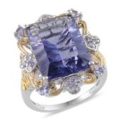 Purple Helenite, Tanzanite 14K YG and Platinum Over Sterling Silver Ring (Size 8.0) TGW 12.620 cts.
