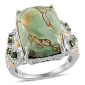 Utah Variscite (Cush 12.65 Ct), Russian Diopside, Diamond Ring in Platinum Overlay Sterling Silver Nickel Free (Size 6.0) TDiaWt 0.02 cts, TGW 13.134 cts.