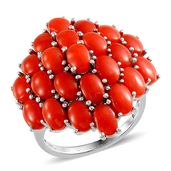 Mediterranean Coral Platinum Over Sterling Silver Enlarged Cluster Ring (Size 7.0) TGW 10.600 cts.