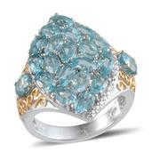 Madagascar Paraiba Apatite, Diamond 14K YG and Platinum Over Sterling Silver Ring (Size 9.0) TDiaWt 0.01 cts, TGW 5.732 cts.