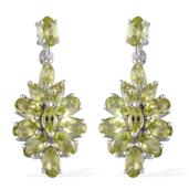 Hebei Peridot Platinum Over Sterling Silver Earrings TGW 5.25 Cts.