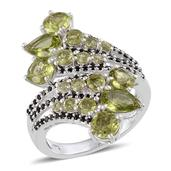 Hebei Peridot (Pear), Thai Black Spinel Ring in Platinum Overlay Sterling Silver Nickel Free (Size 9) TGW 4.87 Cts.
