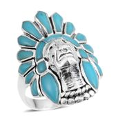 Santa Fe Style Kingman Turquoise Sterling Silver Native American Ring (Size 8.0) TGW 3.00 cts.