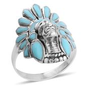 Santa Fe Style Kingman Turquoise Sterling Silver Native American Ring (Size 9.0) TGW 3.00 cts.