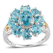 Madagascar Paraiba Apatite 14K YG and Platinum Over Sterling Silver Ring (Size 6.0) TGW 5.800 cts.