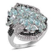 Madagascar Paraiba Apatite, White Topaz, Thai Black Spinel Platinum Over Sterling Silver Ring (Size 5.0) TGW 3.390 cts.