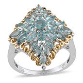Madagascar Paraiba Apatite 14K YG and Platinum Over Sterling Silver Ring (Size 9.0) TGW 3.330 cts.