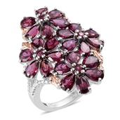 Orissa Rhodolite Garnet, Diamond 14K RG and Platinum Over Sterling Silver Floral Ring (Size 8.0) TDiaWt 0.01 cts, TGW 12.690 cts.