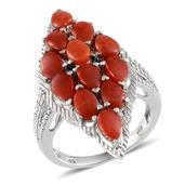 Mediterranean Coral, Black Diamond Platinum Over Sterling Silver Ring (Size 8.0) TDiaWt 0.02 cts, TGW 5.520 cts.