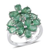 Kagem Zambian Emerald Platinum Over Sterling Silver Floral Ring (Size 8.0) TGW 5.250 cts.