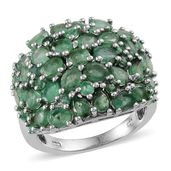 Kagem Zambian Emerald Platinum Over Sterling Silver Ring (Size 8.0) TGW 4.340 cts.