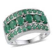 Kagem Zambian Emerald Platinum Over Sterling Silver Ring (Size 8.0) TGW 3.650 cts.