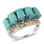 Sonoran Blue Turquoise, Malgache Neon Apatite 14K YG and Platinum Over Sterling Silver Ring (Size 9.0) TGW 7.150 cts.