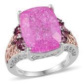 Pink Crackled Quartz, Orissa Rhodolite Garnet 14K RG and Platinum Over Sterling Silver Ring (Size 10.0) TGW 15.570 cts.