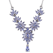 Tanzanite Platinum Over Sterling Silver Necklace (18 in) TGW 5.930 cts.