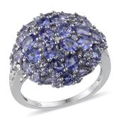 Tanzanite Platinum Over Sterling Silver Cluster Ring (Size 7.0) TDiaWt 0.01 cts, TGW 4.330 cts.