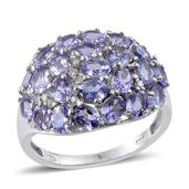 Tanzanite, Diamond Platinum Over Sterling Silver Cluster Ring (Size 8.0) TDiaWt 0.12 cts, TGW 4.50 cts.