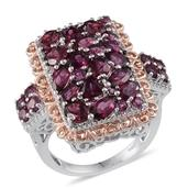 Orissa Rhodolite Garnet, Diamond 14K RG and Platinum Over Sterling Silver Ring (Size 6.0) , TDiaWt 0.03 cts, TGW 7.061 cts.