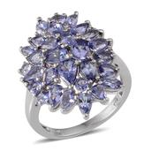 Tanzanite Platinum Over Sterling Silver Cluster Ring (Size 9.0) TGW 4.450 cts.