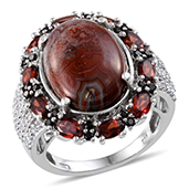 Red Lace Agate (Ovl 9.90 Ct), Mozambique Garnet, Thai Black Spinel, White Topaz Ring in Platinum Overlay Sterling Silver Nickel Free (Size 7.0) TGW 13.600 cts.
