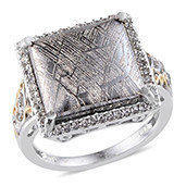Marvelous Meteorites, White Topaz Platinum Over Sterling Silver Ring (Size 9.0) TGW 20.650 cts.
