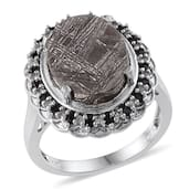 Marvelous Meteorites, Thai Black Spinel, White Topaz Platinum Over Sterling Silver Ring (Size 6.0) TGW 14.800 cts.