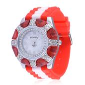 STRADA Austrian Crystal Japanese Movement Watch with Red Silicone Band and Stainless Steel Back