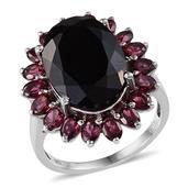 Australian Black Tourmaline (Ovl 11.65 Ct), Orissa Rhodolite Garnet Ring in Platinum Overlay Sterling Silver Nickel Free (Size 11.0) TGW 16.300 cts.
