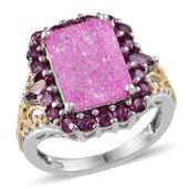 Pink Crackled Quartz, Orissa Rhodolite Garnet 14K YG and Platinum Over Sterling Silver Ring (Size 7.0) TGW 9.860 cts.