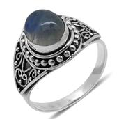Bali Legacy Collection Sri Lankan Rainbow Moonstone Sterling Silver Ring (Size 5.0) TGW 3.000 cts.