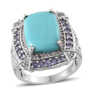 Sonoran Blue Turquoise, Tanzanite, White Topaz Platinum Over Sterling Silver Ring (Size 10.0) TGW 10.050 cts.