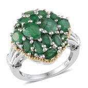 Kagem Zambian Emerald 14K YG and Platinum Over Sterling Silver Ring (Size 7.0) TGW 5.150 cts.