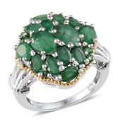 Kagem Zambian Emerald 14K YG and Platinum Over Sterling Silver Ring (Size 8.0) TGW 5.15 cts.