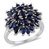 Kanchanaburi Blue Sapphire Platinum Over Sterling Silver Radiant Cluster Ring (Size 8.0) TGW 4.150 cts.