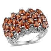 Orange Sapphire, Diamond Platinum Over Sterling Silver Ring (Size 6.0) TDiaWt 0.01 cts, TGW 7.840 cts.