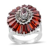 Simulated Red Diamond, Swiss Marcasite Sterling Silver Ring (Size 8.0) TGW 3.060 cts.
