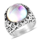 Aurora Borealis Glass, Austrian Crystal Stainless Steel Ring (Size 9.0)
