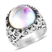 Aurora Borealis Glass, Austrian Crystal Stainless Steel Ring (Size 9.0)