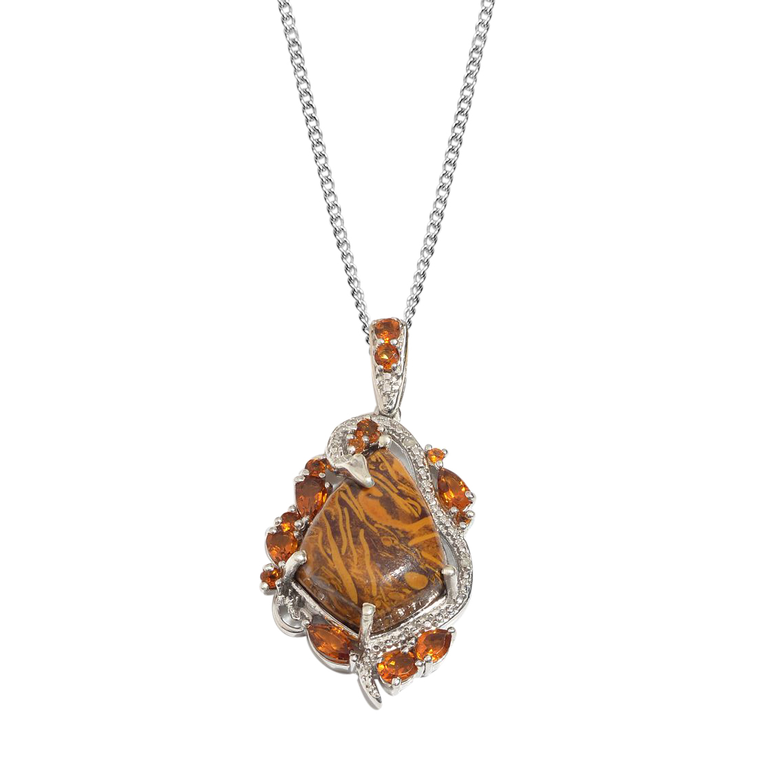 Indian Script Stone, Santa Ana Madeira Citrine, Diamond 14K YG and Platinum Over Sterling Silver Pendant With Chain (20 in) TDiaWt 0.01 cts, TGW 14.520 cts.