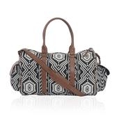 Black and White Chevron Print Duffel Bag (19x8x12 in)
