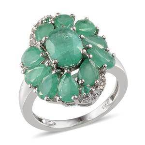 Kagem Zambian Emerald, White Topaz Platinum Over Sterling Silver Ring (Size 8.0) TGW 5.750 cts.