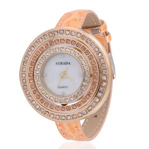 STRADA Austrian Crystal Japanese Movement Watch with Tangerine Band and Stainless Steel Back