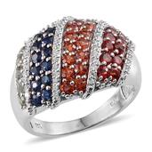 Multi Sapphire, Simulated Diamond Platinum Over Sterling Silver Ring (Size 9.0) TGW 3.555 cts.