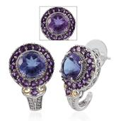 Lavender Alexite, Amethyst, White Topaz 14K YG and Platinum Over Sterling Silver J-Hoop Earrings TGW 9.160 cts.