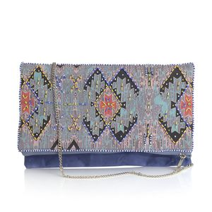 Blue Shoulder Bag with Multi Color Seed Bead (11x7.5 in)