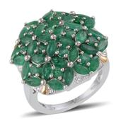 Kagem Zambian Emerald 14K YG and Platinum Over Sterling Silver Cluster Ring (Size 7.0) TGW 5.950 cts.