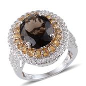 Brazilian Smoky Quartz, White Topaz, Brazilian Citrine Platinum Over Sterling Silver Ring (Size 7.0) TGW 10.700 cts.